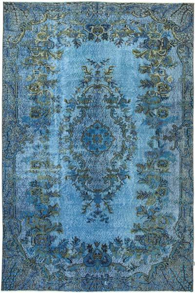 "Blue Hand Carved Over-Dyed Rug - 5' 8"" x 8' 7"" (68 in. x 103 in.)"