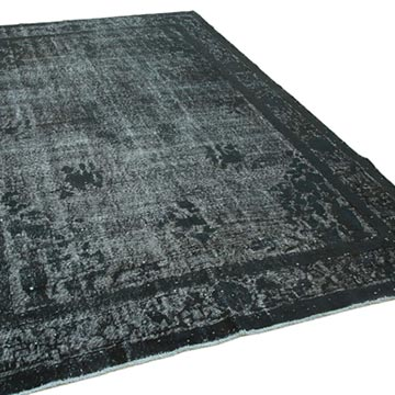 Black Hand Carved Over-Dyed Rug - 6' 11# x 10' 8# (83 in. x 128 in.) - K0051779