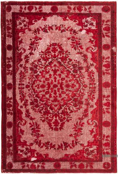"""Red Hand Carved Over-Dyed Rug - 6' 6"""" x 9' 7"""" (78 in. x 115 in.)"""