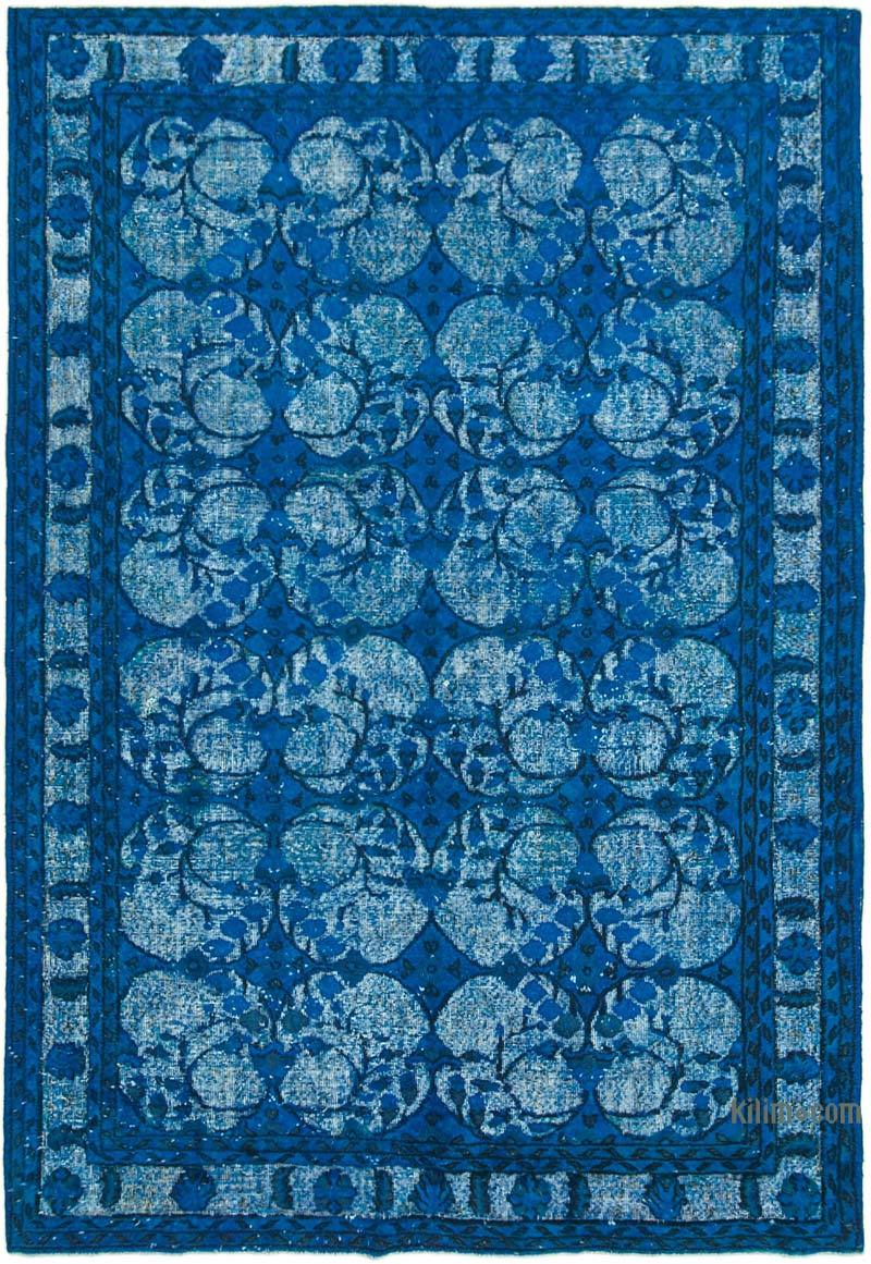 """Blue Hand Carved Over-Dyed Rug - 7' 1"""" x 10' 4"""" (85 in. x 124 in.) - K0051782"""