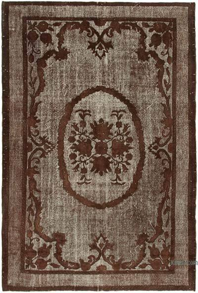 "Brown Hand Carved Over-Dyed Rug - 7'  x 10' 7"" (84 in. x 127 in.)"