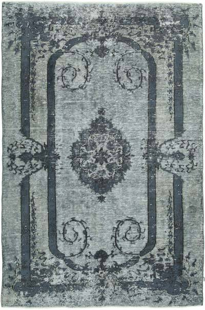 "Grey Hand Carved Over-Dyed Rug - 6' 1"" x 9' 3"" (73 in. x 111 in.)"