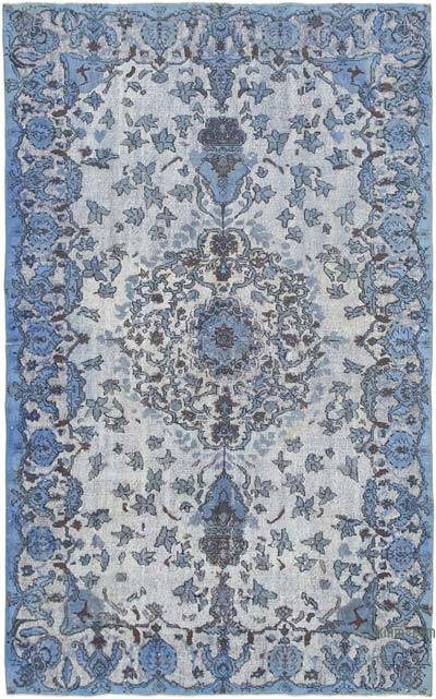 """Blue Hand Carved Over-Dyed Rug - 6' 4"""" x 10' 3"""" (76 in. x 123 in.)"""