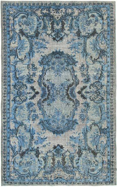 """Blue Hand Carved Over-Dyed Rug - 5' 9"""" x 8' 11"""" (69 in. x 107 in.)"""