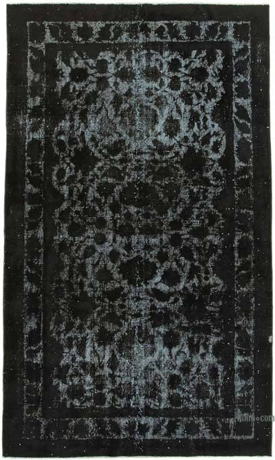 """Black Hand Carved Over-Dyed Rug - 4' 11"""" x 8' 2"""" (59 in. x 98 in.)"""