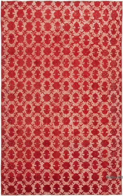 """Red Hand Carved Over-Dyed Rug - 6' 7"""" x 10' 6"""" (79 in. x 126 in.)"""
