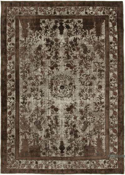 """Brown Hand Carved Over-Dyed Rug - 6' 10"""" x 9' 9"""" (82 in. x 117 in.)"""