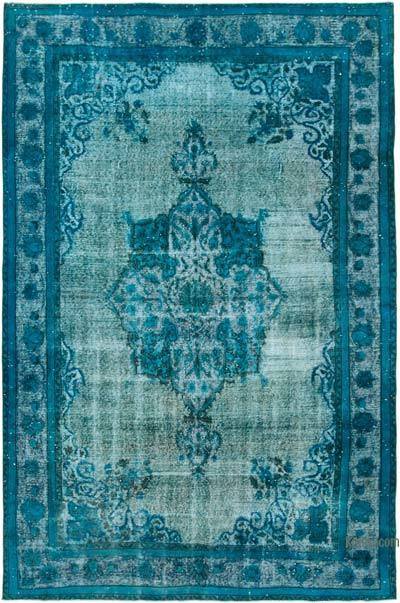 """Aqua Hand Carved Over-Dyed Rug - 7' 1"""" x 10' 10"""" (85 in. x 130 in.)"""
