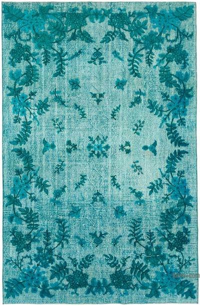 """Aqua Hand Carved Over-Dyed Rug - 6'  x 9' 2"""" (72 in. x 110 in.)"""