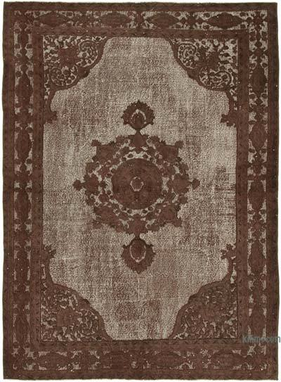 """Brown Hand Carved Over-Dyed Rug - 7' 1"""" x 9' 7"""" (85 in. x 115 in.)"""