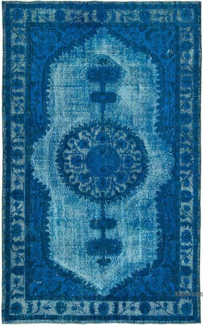 Mavi-Yeşil El Oyması Boyalı Halı - 174 cm x 285 cm