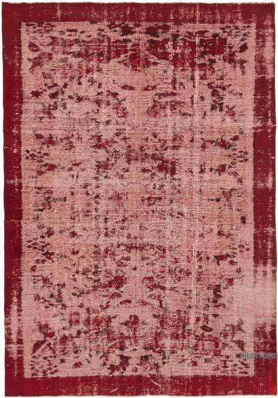 """Red Hand Carved Over-Dyed Rug - 6' 1"""" x 8' 9"""" (73 in. x 105 in.)"""