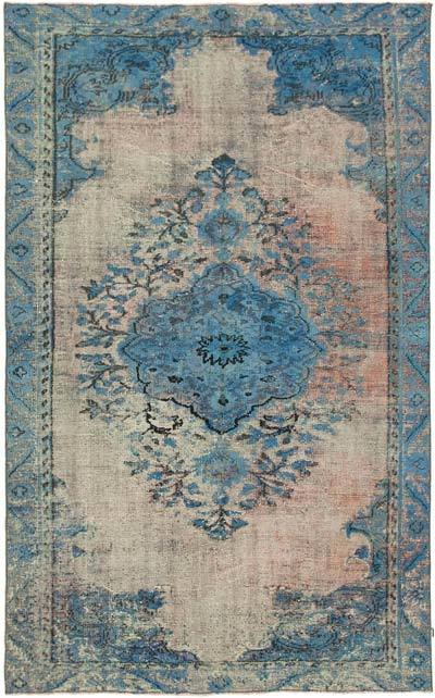 """Blue Hand Carved Over-Dyed Rug - 5' 10"""" x 9' 4"""" (70 in. x 112 in.)"""