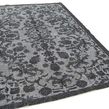 """Grey Hand Carved Over-Dyed Rug - 6' 3"""" x 9' 1"""" (75 in. x 109 in.) - K0051820"""