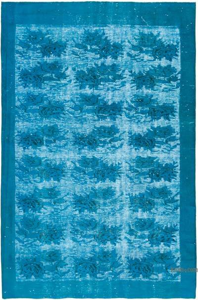 """Aqua Hand Carved Over-Dyed Rug - 5' 6"""" x 8' 4"""" (66 in. x 100 in.)"""
