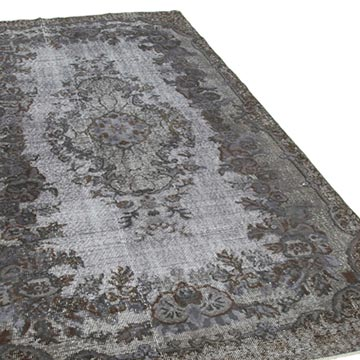 """Grey Hand Carved Over-Dyed Rug - 5' 5"""" x 9' 5"""" (65 in. x 113 in.) - K0051829"""