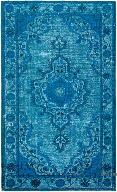 """Aqua Hand Carved Over-Dyed Rug - 6' 2"""" x 10'  (74 in. x 120 in.)"""