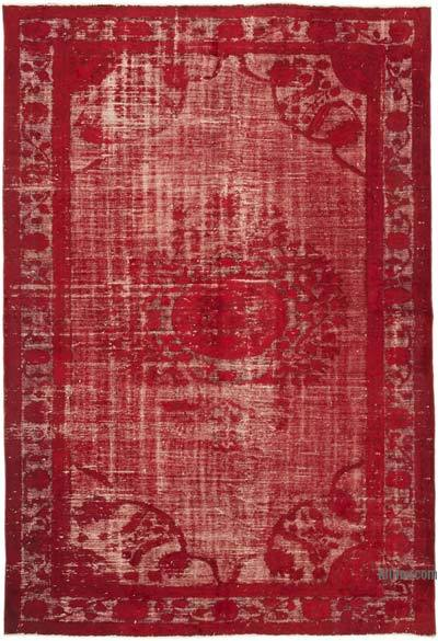 """Red Hand Carved Over-Dyed Rug - 6' 11"""" x 10'  (83 in. x 120 in.)"""