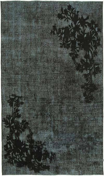 """Black Hand Carved Over-Dyed Rug - 4' 9"""" x 8'  (57 in. x 96 in.)"""