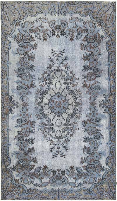 """Blue Hand Carved Over-Dyed Rug - 5' 5"""" x 9' 3"""" (65 in. x 111 in.)"""