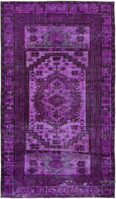 "Purple Hand Carved Over-Dyed Rug - 5' 4"" x 9'  (64 in. x 108 in.)"