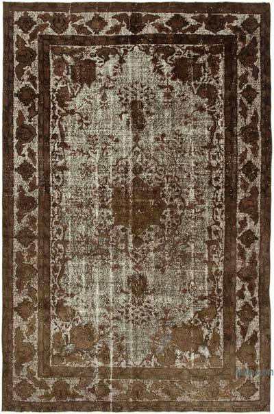 """Brown Hand Carved Over-Dyed Rug - 6' 8"""" x 9' 11"""" (80 in. x 119 in.)"""