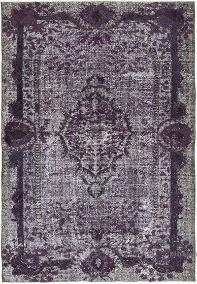 """Purple Hand Carved Over-Dyed Rug - 6' 4"""" x 9' 4"""" (76 in. x 112 in.)"""