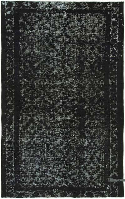 """Black Hand Carved Over-Dyed Rug - 5' 3"""" x 8' 2"""" (63 in. x 98 in.)"""