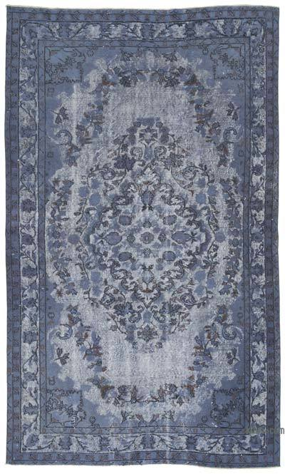 """Grey Hand Carved Over-Dyed Rug - 5' 5"""" x 9' 1"""" (65 in. x 109 in.)"""