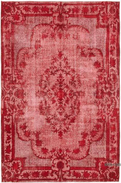 """Red Hand Carved Over-Dyed Rug - 6' 8"""" x 10' 2"""" (80 in. x 122 in.)"""