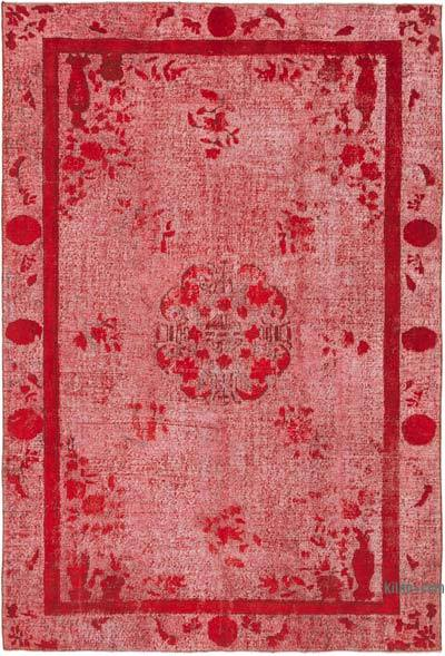 """Red Hand Carved Over-Dyed Rug - 6' 11"""" x 10' 2"""" (83 in. x 122 in.)"""