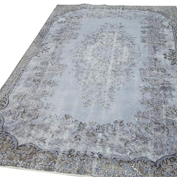 """Grey Hand Carved Over-Dyed Rug - 5' 2"""" x 8' 9"""" (62 in. x 105 in.) - K0051857"""