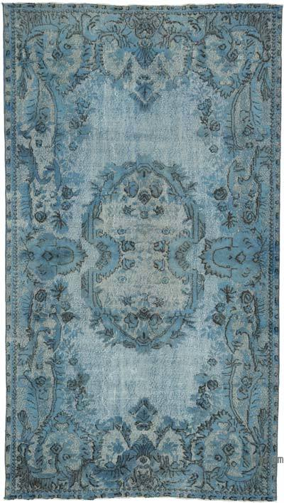 """Blue Hand Carved Over-Dyed Rug - 5' 7"""" x 9' 10"""" (67 in. x 118 in.)"""