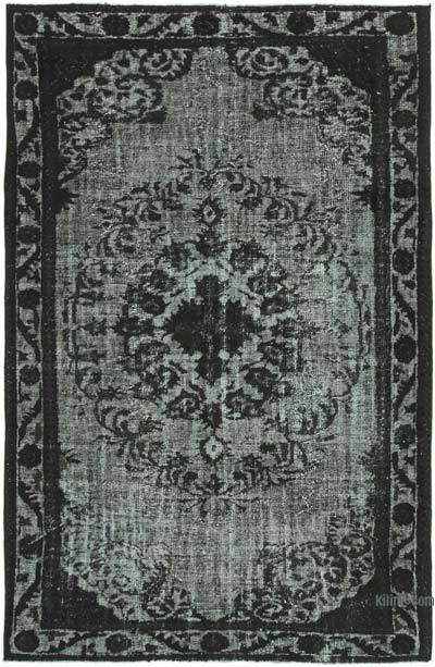 """Black Hand Carved Over-Dyed Rug - 6' 3"""" x 9' 7"""" (75 in. x 115 in.)"""