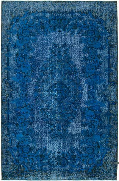 "Blue Hand Carved Over-Dyed Rug - 5' 6"" x 8' 4"" (66 in. x 100 in.)"