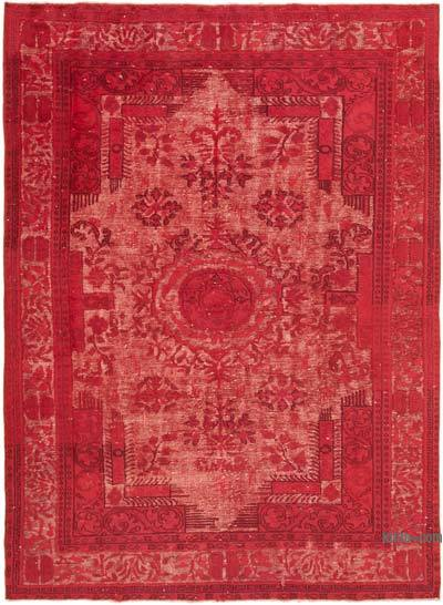 "Red Hand Carved Over-Dyed Rug - 6' 9"" x 9' 4"" (81 in. x 112 in.)"