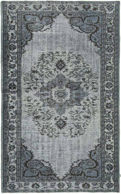 "Grey Hand Carved Over-Dyed Rug - 5' 3"" x 8' 6"" (63 in. x 102 in.)"