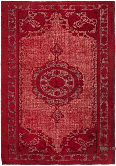 """Red Hand Carved Over-Dyed Rug - 7' 7"""" x 10' 11"""" (91 in. x 131 in.)"""