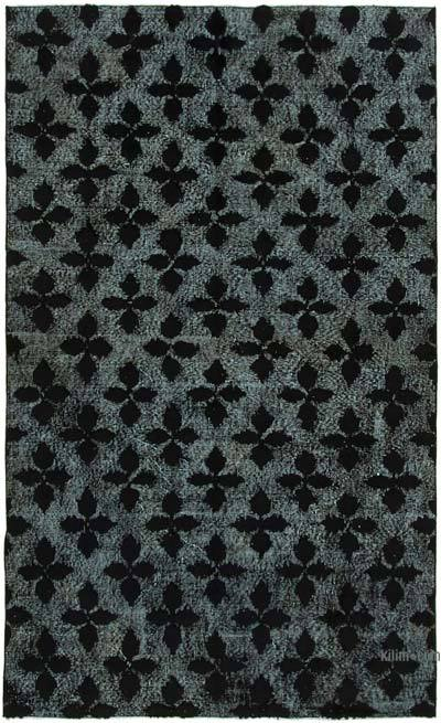 Negro Alfombra Tallada a Mano Sobre Teñida - 156 cm x 256 cm