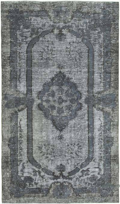 """Grey Hand Carved Over-Dyed Rug - 5' 1"""" x 8' 9"""" (61 in. x 105 in.)"""