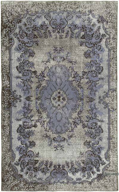 """Grey Hand Carved Over-Dyed Rug - 5' 6"""" x 9'  (66 in. x 108 in.)"""