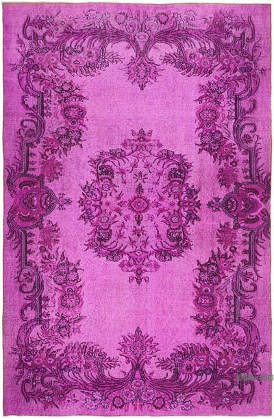 """Fuchsia Hand Carved Over-Dyed Rug - 5' 7"""" x 8' 5"""" (67 in. x 101 in.)"""
