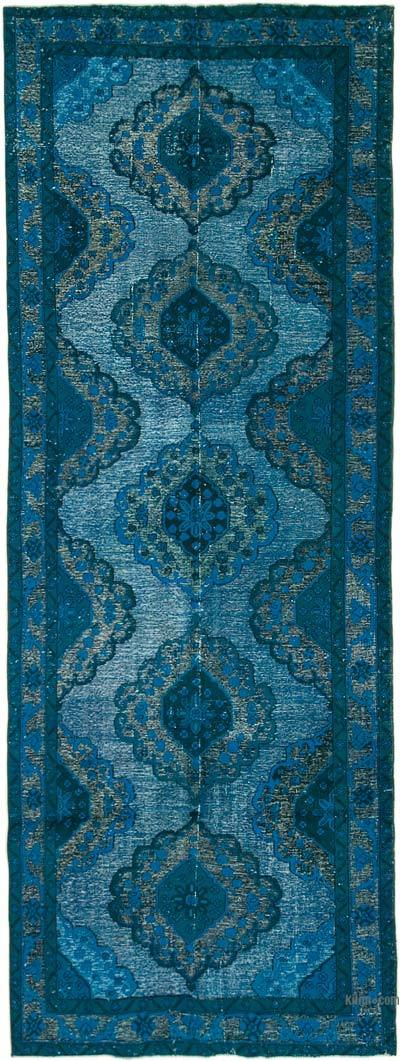 """Aqua Hand Carved Over-Dyed Rug - 4' 7"""" x 13'  (55 in. x 156 in.)"""