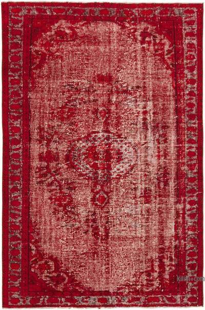 """Red Hand Carved Over-Dyed Rug - 5' 10"""" x 8' 10"""" (70 in. x 106 in.)"""