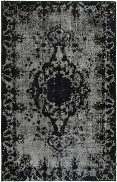 """Black Hand Carved Over-Dyed Rug - 5' 8"""" x 8' 10"""" (68 in. x 106 in.)"""