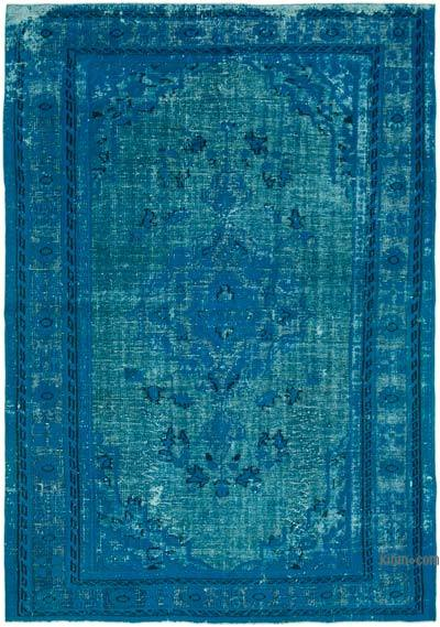 """Aqua Hand Carved Over-Dyed Rug - 6' 7"""" x 9' 7"""" (79 in. x 115 in.)"""
