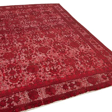 Red Hand Carved Over-Dyed Rug - 6' 10# x 9' 11# (82 in. x 119 in.) - K0051892