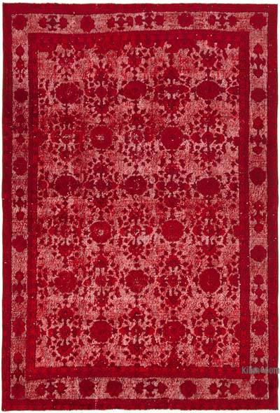 """Red Hand Carved Over-Dyed Rug - 6' 10"""" x 9' 11"""" (82 in. x 119 in.)"""