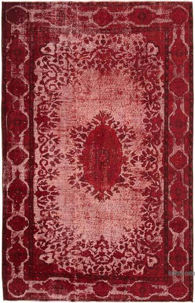"""Red Hand Carved Over-Dyed Rug - 5' 8"""" x 8' 11"""" (68 in. x 107 in.)"""