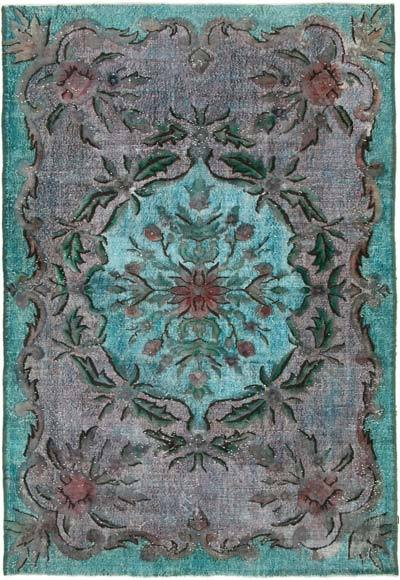 """Aqua Hand Carved Over-Dyed Rug - 6' 8"""" x 9' 8"""" (80 in. x 116 in.)"""